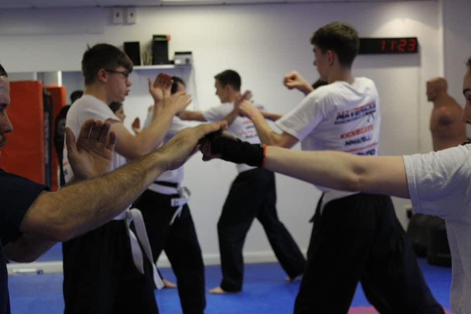 Adults training Kickboxing and MMA at Mavericks Martial arts in Guildford